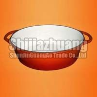 Round Red Enameled Casserole Pot Dish