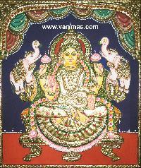 Gajalakshmi Tanjore Painting (10074)