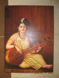 Sitar Lady Oil Painting