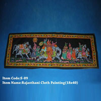 Rajasthani Cloth Silk Paintings 18x48