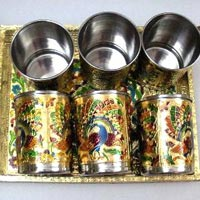 Set of Six Steel Golden Glass with Golden Trey