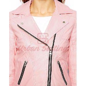 Pink Biker Ladies Leather Jacket