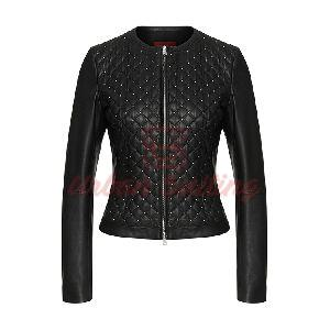 Leather Jacket with Quilted Front Lovica