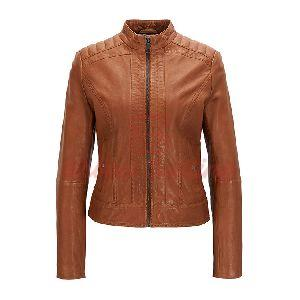 Lightweight Slim Fit Leather Jacket Lining Brown