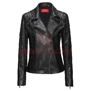 Regular Fit Leather Jacket with Detachable Sleeves