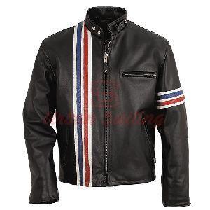 Men Strip Biker Leather Jacket