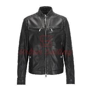 Regular Fit Mercedes Benz Leather Jacket