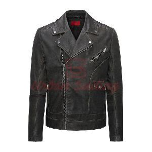 Relaxed Fit Biker Jacket in Nappa Calf Leather