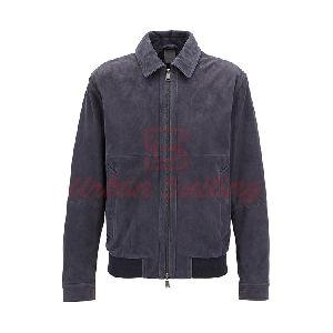 Suede Aviator Jacket with Two Way Zip