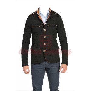 Men Black Quilted Coat