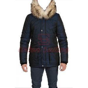 Men Blue Parka Jacket