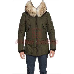 Men Quilted Parka Green