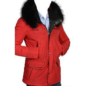 Men Red Parka Jacket