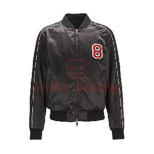 Reversible Satin Bomber Jacket with Embroidered