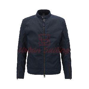 Slim Fit Biker Jacket in Used Finish Waxed Twill