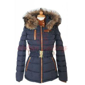 Ladies Navy Blue Fur Collar Jacket