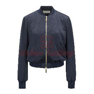 Zip Through Bomber Jacket in Lustrous Fabric