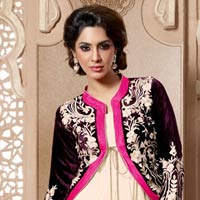 Semi Stitched Anarkali Salwar Suit