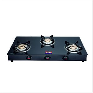 BL Nandi Three Burner Glass Top Gas Stove