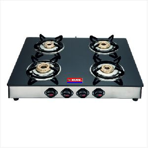 SS Nandi Four Burner Glass Top Gas Stove