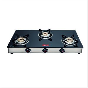 SS Nandi Three Burner Glass Top Gas Stove