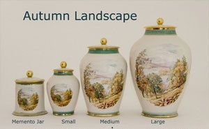Autumn Landscape Pottery Ashes Urn