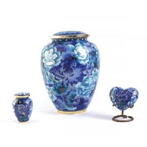 Blue Floral Cloisonne Brass Cremation Urn
