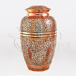 Copper Oak Brass Metal Cremation Urn