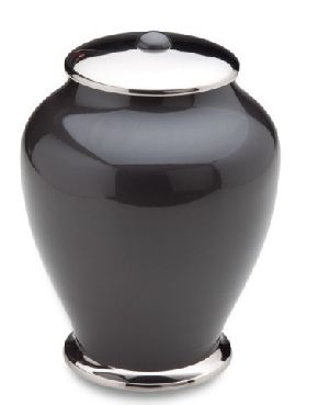 Elegant Black And Silver Brass Urn