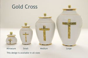 Gold Cross Pottery Ashes Urn