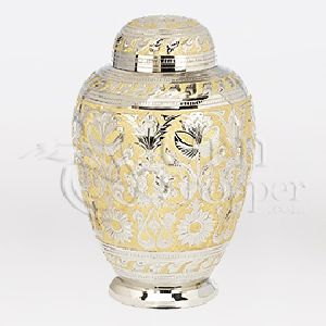Gold Floral Brass Metal Cremation Urn