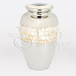 Mother of Pearl Brass Metal Cremation Urn