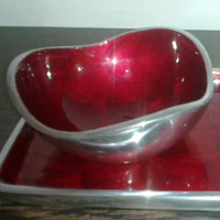 Aluminum Small Dessert Bowls with Tray