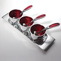 Aluminum Soup Bowl Set with Tray & Spoons