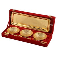 Brass Bowl Set with Tray & Spoon Gold Plated