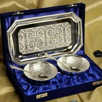 Brass Bowl Set with Tray & Spoon Silver Plated