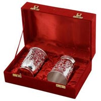 Brass Glass Set Silver Plated