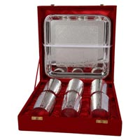 Brass Glass Set Straight with Tray Silver Plated