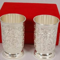 Brass Glass Utility Set Silver Plated
