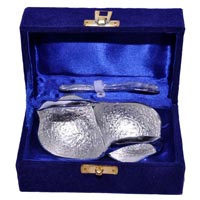 Brass Swan Shape Bowl with Spoon Small Silver Plated
