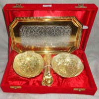 Brass Two-tone Bowl Set with Tray & Spoon Gold Plated