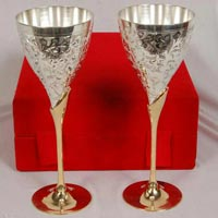 Brass Wine Glass Silver Plated