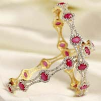Diamond Gemstone Bangle (CWDGBP242)