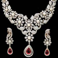 Diamond Gemstone Necklace Set (CWDGGN0001)
