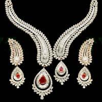 Diamond Gemstone Necklace Set (CWDGGN0002)