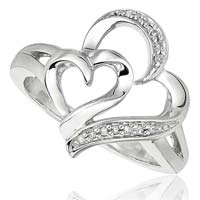Diamond Heart Shaped Ring (CWHGR0002)