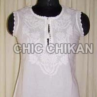 Chikan Embroidered Cotton Anarkali Kurti
